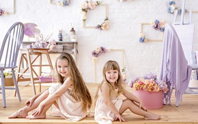 Picture joy, flowers, smile, photo, frame, girl, sisters, sitting