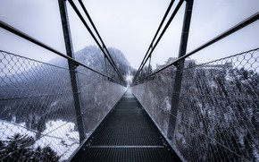 Wallpaper winter, bridge, fog