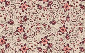 Wallpaper flowers, pattern, vector, ornament