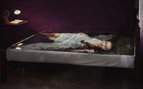 Wallpaper light, algae, lamp, legs, brown hair, russian, Daria Volkova, lies, pose, sleep, long-haired, water, book, ...