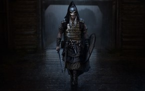 Picture weapons, rain, armor, Warrior, step