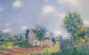 Picture picture, Alfred Sisley, Alfred Sisley, Spring Landscape. The road on the Edge of the Sea-sur-Luena