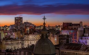 Picture twilight, sunset, Argentina, dusk, downtown, blue hour, cityscape, church, Buenos Aires, urban scene