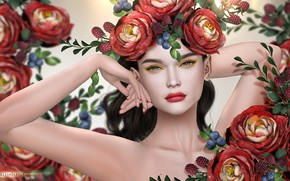 Picture girl, flowers, berries, wreath