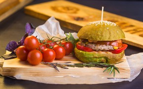 Picture meat, Board, pepper, vegetables, tomatoes, hamburger