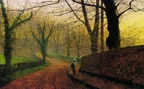 Picture road, trees, landscape, the fence, picture, alley, John Atkinson Grimshaw, John Atkinson Grimshaw, Stapleton Park …