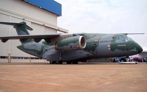Picture flag, Brazil, FAB, Embraer, KC-390, developed and manufactured by Embraer Defesa e Seg, Embraer KC-390, …