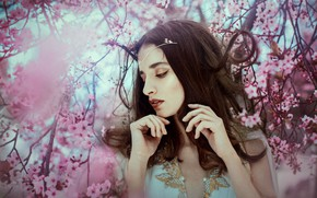 Picture girl, branches, face, tree, mood, spring, hands, makeup, flowering, Ximena Olavarria Designer