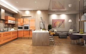 Wallpaper room, interior, decor, modern, kitchen, sofa, kitchen, design