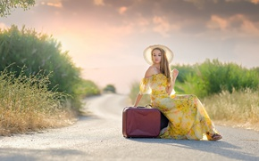 Wallpaper road, girl, hat, dress, suitcases, Joana
