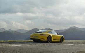Picture road, yellow, markup, Porsche, rear view, 2018, mountain landscape, 911 Carrera T, 370 HP