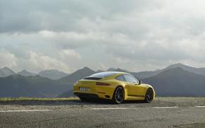 Picture road, yellow, markup, Porsche, rear view, 2018, mountain landscape, 911 Carrera T, 370 HP