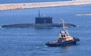 Picture boat, tug, submarine, underwater, Novorossiysk, The black sea, diesel