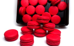 Picture cookies, red, dessert, macarons