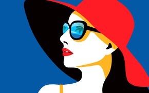 Wallpaper hat, palm trees, vector, Tropical Woman, reflection, background, red, face, sea, girl, lips, glasses, the ...