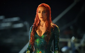 Picture green, cinema, red, dress, woman, movie, Amber Heard, redhead, film, oppai, Aquaman, red hairl, Mera