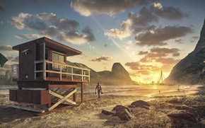 Picture beach, mountains, building, Lifeguard Post