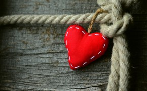 Picture love, red, heart, rope, Board, Valentine, heart, Valentine's day, holidays, Valentine's day, composition, rag