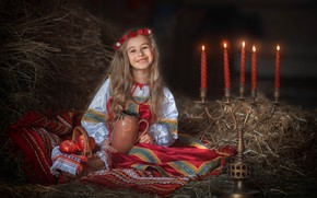 Picture smile, mood, apples, candles, hay, girl, straw, pitcher, basket, wreath, candle holder, sundress, flammable