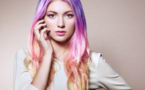 Picture portrait, sponge, Oleg Gekman, Colorful Dyed Hair, Rainbow Hairstyles