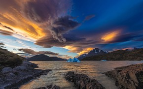 Picture ice, clouds, mountains, lake, Chile, Magallanes