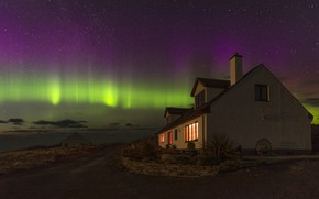 Picture stars, landscape, night, house, Northern lights