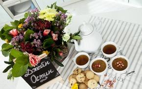 Picture Flowers, Bouquet, Tea, Flowers, Cookies, Bouquet, Tea