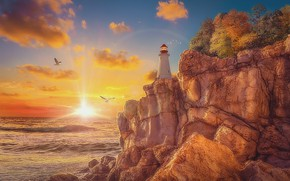 Picture stones, rocks, shore, lighthouse, seagulls, morning, sunrise, rays of light, art, pink clouds, the sea, …