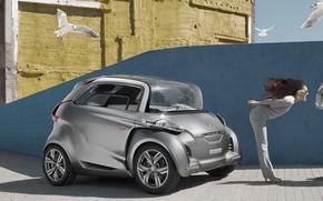 Picture auto, girl, birds, Girls, fan, Peugeot