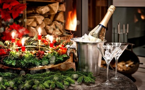 Wallpaper holiday, new year, glasses, fireplace, champagne, decor
