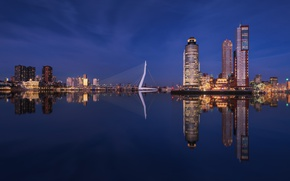 Picture water, reflection, the city, lights, building, the evening