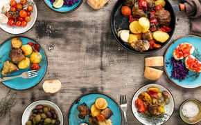 Wallpaper bread, meat, BBQ, vegetables, tomatoes, olives, wood, potatoes, meat, grill