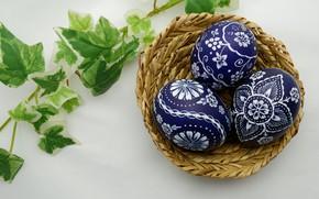 Picture leaves, sprig, basket, eggs, spring, Easter, Holiday