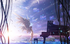 Picture the sky, girl, stars, the city, wire, home, wings, anime, feathers, piano, angel beats!, angel …