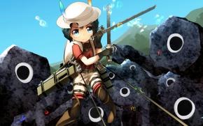 Picture kawaii, girl, sword, hat, anime, chibi, crossover, ken, blade, manga, japanese, Shingeki no Kyojin, Attack …