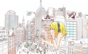 Picture the city, street, home, headphones, helicopter, vocaloid, Hatsune Miku, Kagamine Rin, the vocaloids, Kagamine Len, …
