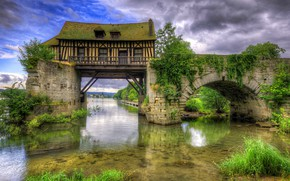 Picture greens, the sky, grass, clouds, trees, bridge, house, river, France, HDR, arch, the bushes, Vernon, …