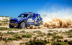 Picture Mini, Blue, Dust, Sport, Speed, Race, Rally, SUV, Rally, 206, X-Raid Team, MINI Cooper, X-Raid, …
