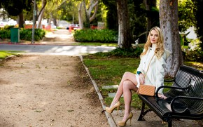Picture girl, long hair, legs, trees, photo, park, model, lips, face, coat, bench, blonde, high heels, …