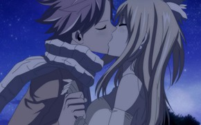 Picture kiss, anime, art, Fairy Tail, Natsu, Lucy, Fairy tail
