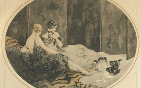 Picture kittens, bowl, 1925, Louis Icart, etching and aquatint, Spilled milk