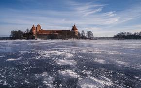 Picture Trakai, Lithuania, The fatherland, winter, pilis, lake