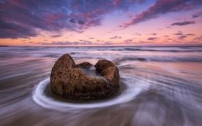 Picture sea, beach, the sky, water, clouds, nature, the ocean, stone, the evening, morning, excerpt