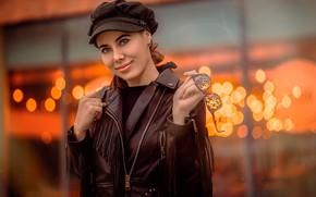 Wallpaper glare, glasses, makeup, bokeh, smile, takes, jacket, brown hair, cute, kozhanka, Kaan ALTINDA!, background, look, ...
