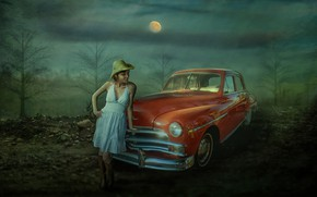 Picture machine, auto, girl, trees, night, the moon, photoshop