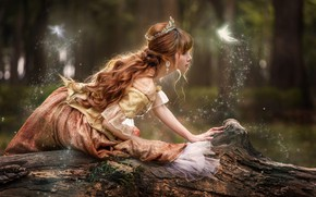 Wallpaper red, log, crown, curls, girl, FAE, forest, tale