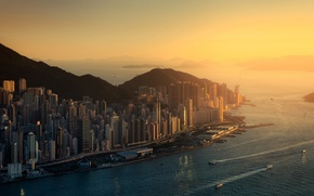 Picture city, ocean, sunset, water, skyscraper, street, hills, Hong Kong, ship, boat, building, bay, cityscape