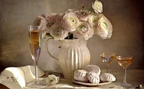 Picture wine, bouquet, glasses, Ranunculus