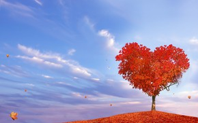 Picture autumn, tree, heart, falling leaves