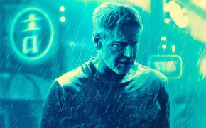 Wallpaper Harrison Ford, neon light, poster, Blade runner 2049, Blade Runner 2049, rain, fiction, Rick Deckard, ...